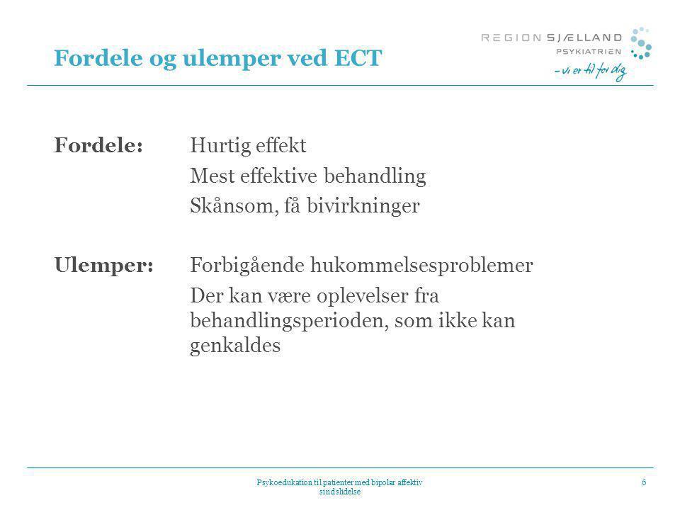 Fordele og ulemper ved ECT