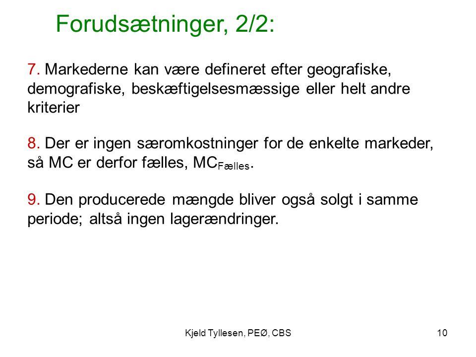 Forudsætninger, 2/2: 7. Markederne kan være defineret efter geografiske, demografiske, beskæftigelsesmæssige eller helt andre kriterier.