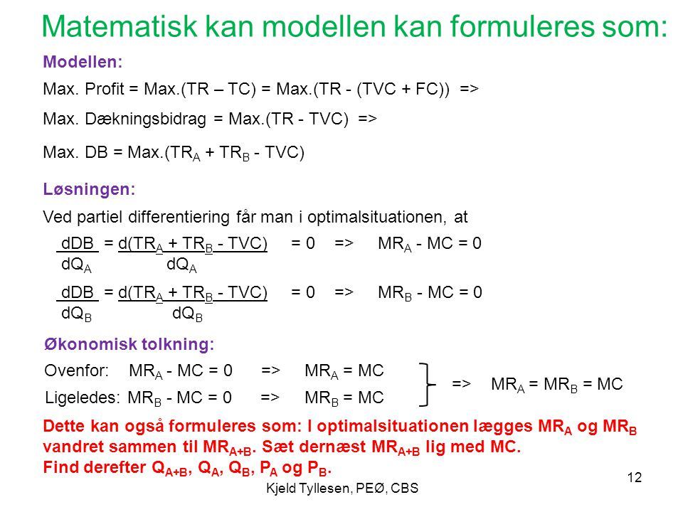 Matematisk kan modellen kan formuleres som: