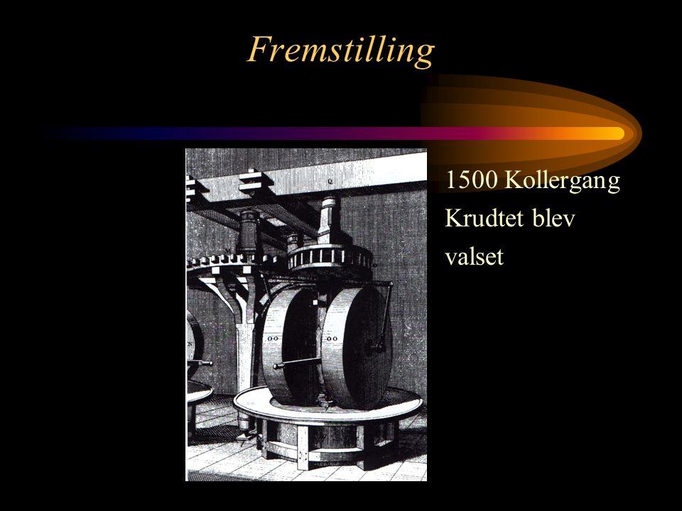 Fremstilling 1500 Kollergang Krudtet blev valset