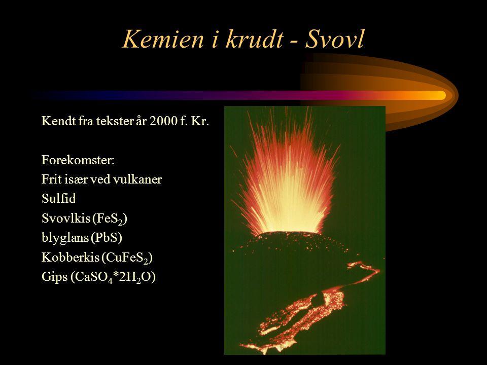 Kemien i krudt - Svovl Kendt fra tekster år 2000 f. Kr. Forekomster: