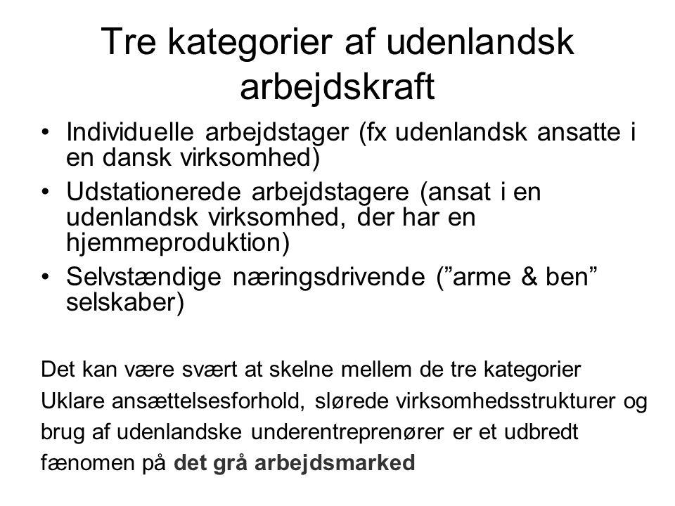 Tre kategorier af udenlandsk arbejdskraft