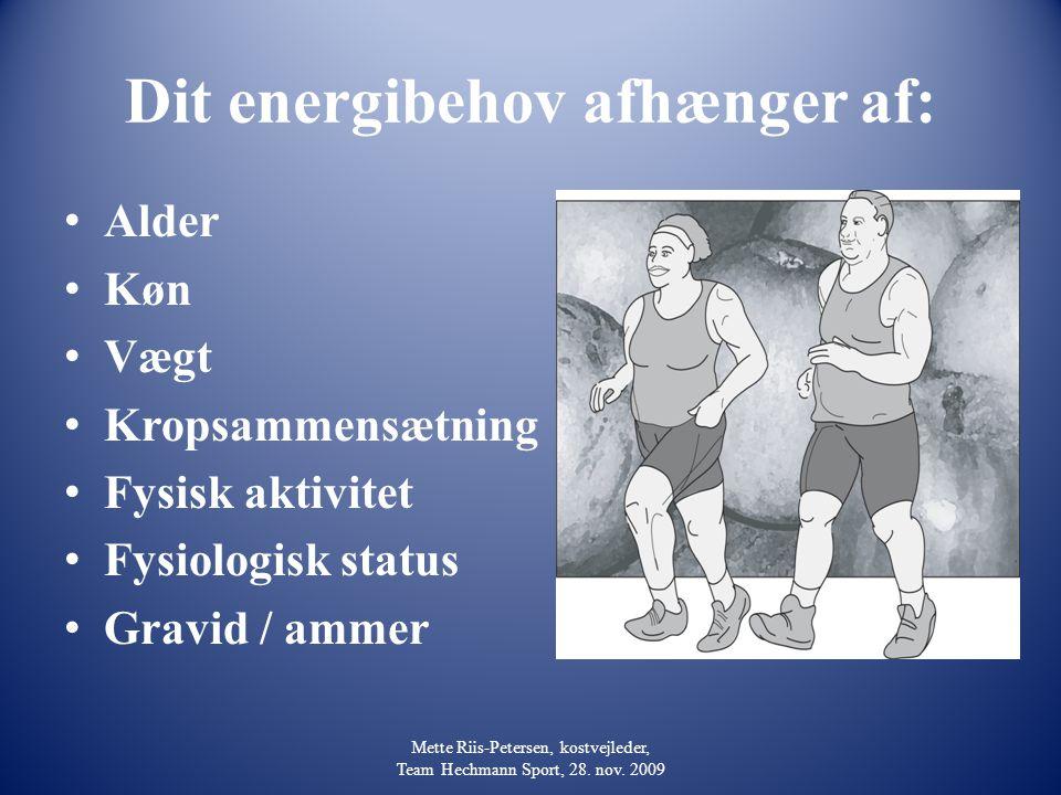 Dit energibehov afhænger af: