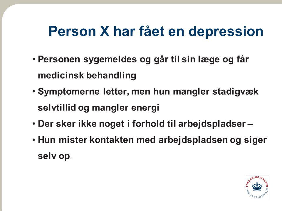 Person X har fået en depression