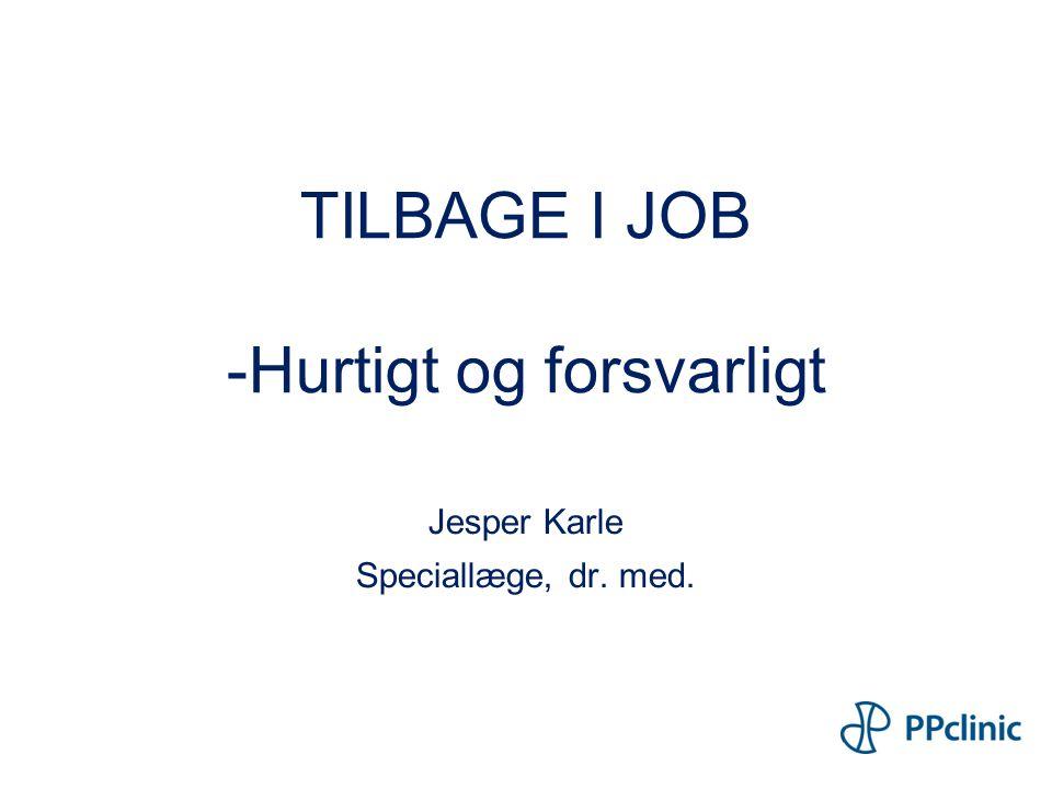 TILBAGE I JOB -Hurtigt og forsvarligt