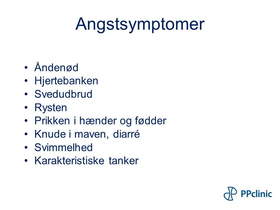 Angstsymptomer Åndenød Hjertebanken Svedudbrud Rysten