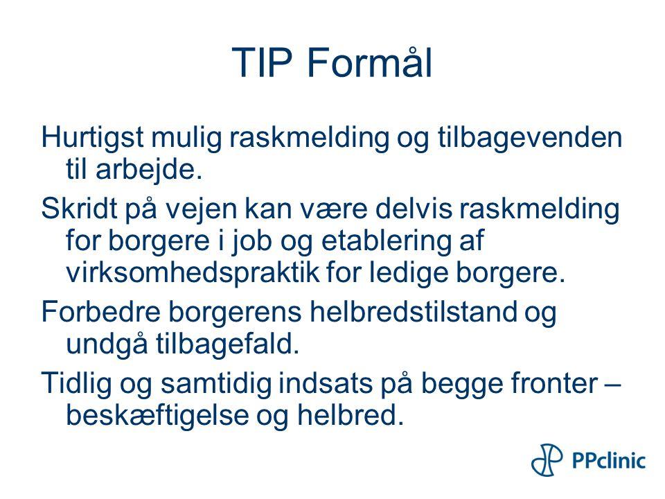 TIP Formål Hurtigst mulig raskmelding og tilbagevenden til arbejde.