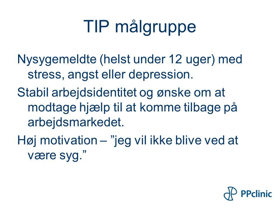 TIP målgruppe Nysygemeldte (helst under 12 uger) med stress, angst eller depression.