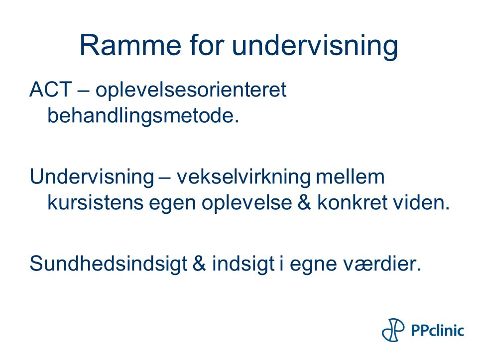 Ramme for undervisning