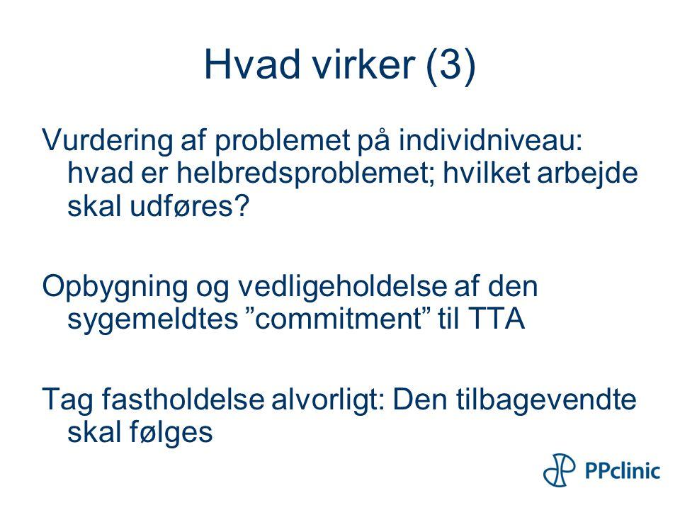 Hvad virker (3) Vurdering af problemet på individniveau: hvad er helbredsproblemet; hvilket arbejde skal udføres