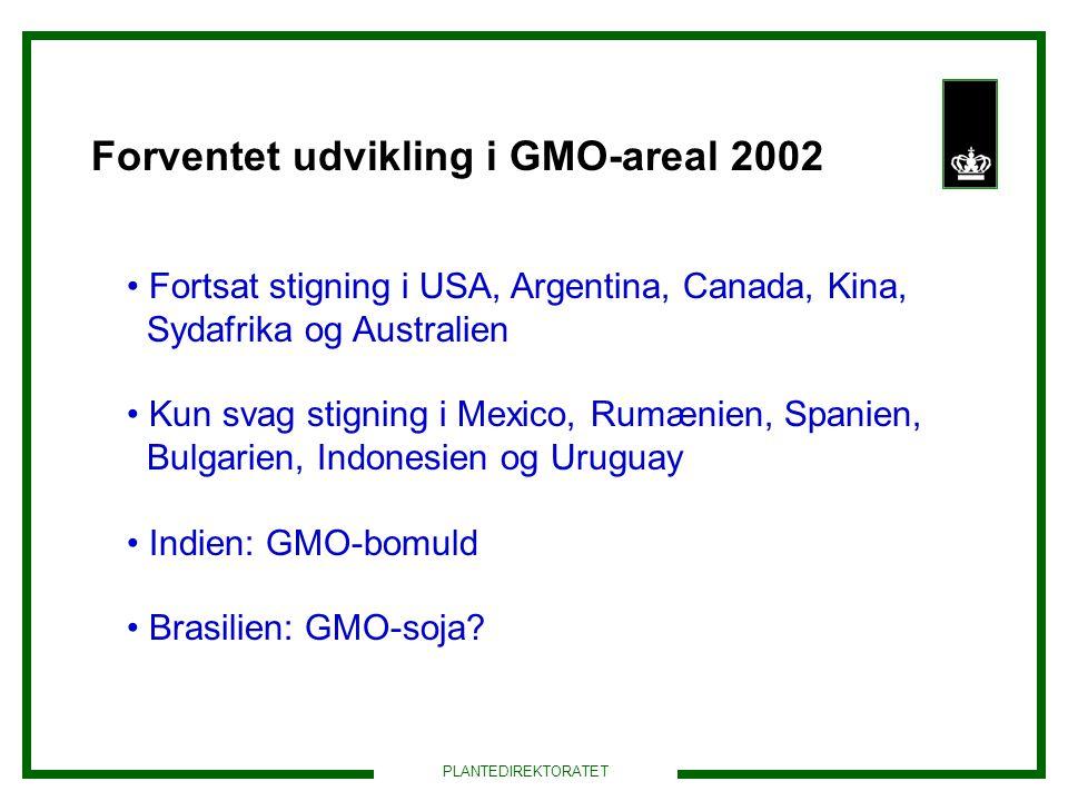 Forventet udvikling i GMO-areal 2002