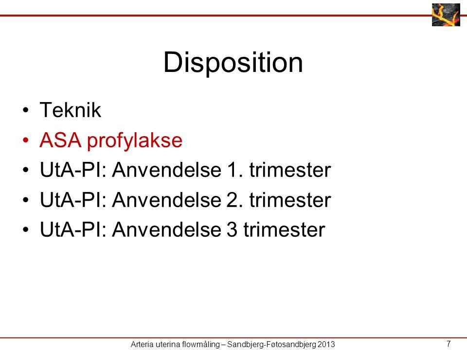 Disposition Teknik ASA profylakse UtA-PI: Anvendelse 1. trimester