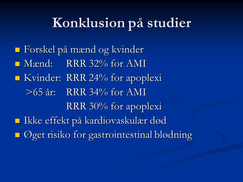 Konklusion på studier Forskel på mænd og kvinder Mænd: RRR 32% for AMI