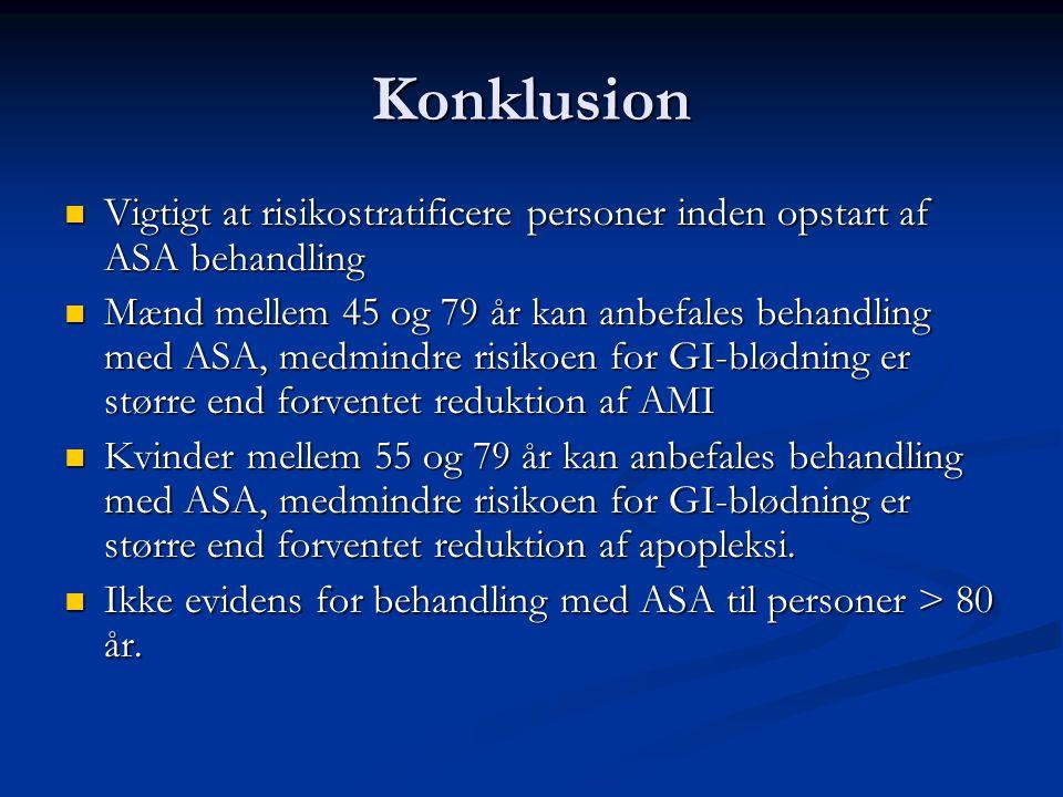 Konklusion Vigtigt at risikostratificere personer inden opstart af ASA behandling.