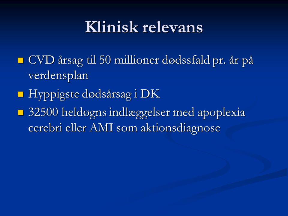 Klinisk relevans CVD årsag til 50 millioner dødssfald pr. år på verdensplan. Hyppigste dødsårsag i DK.
