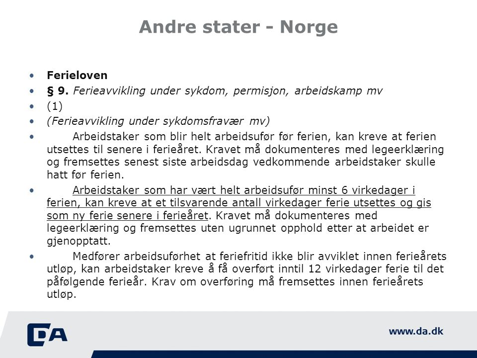 Andre stater - Norge Ferieloven