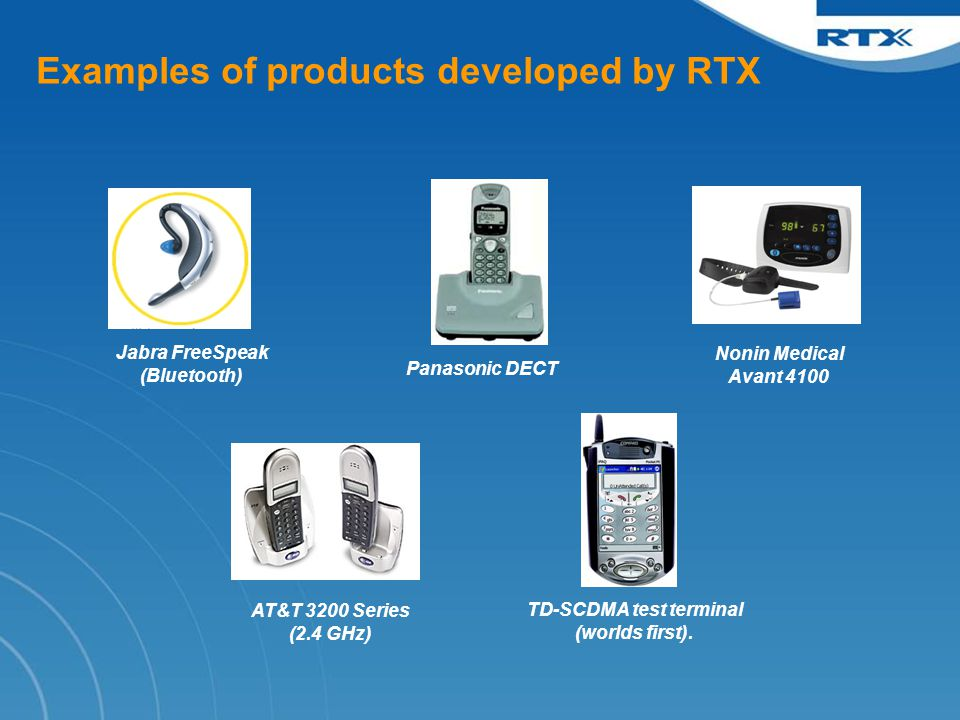Examples of products developed by RTX