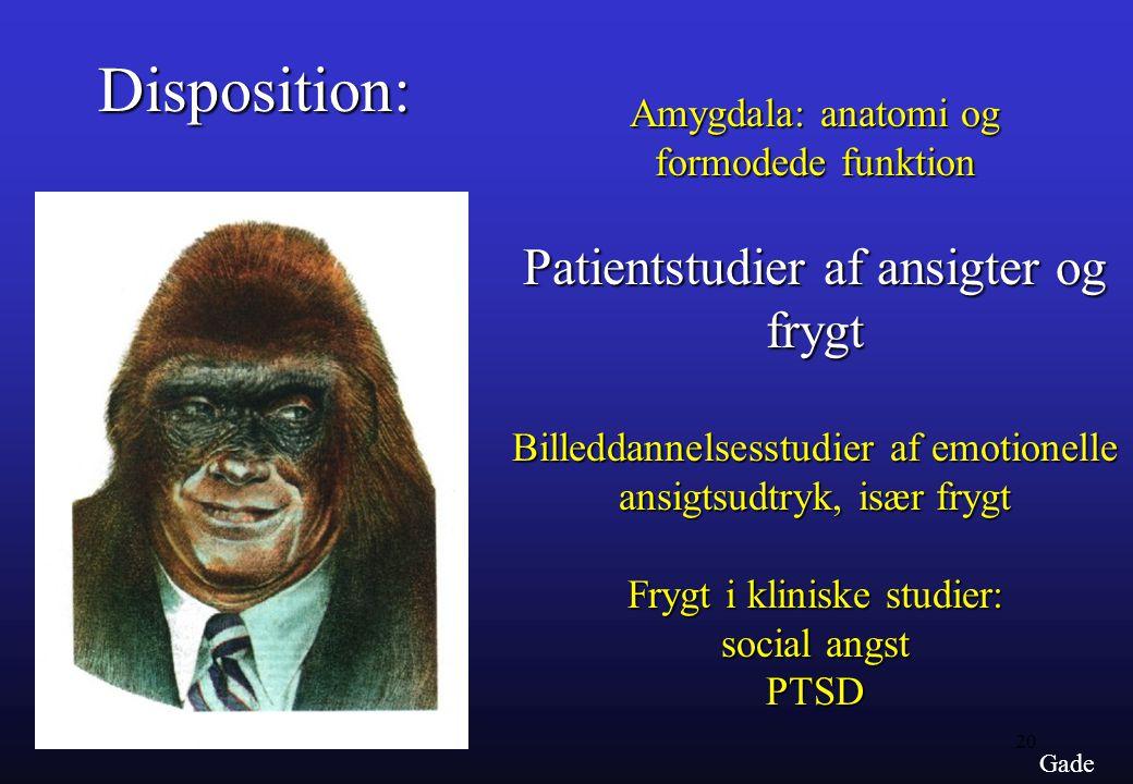 Disposition: Patientstudier af ansigter og frygt