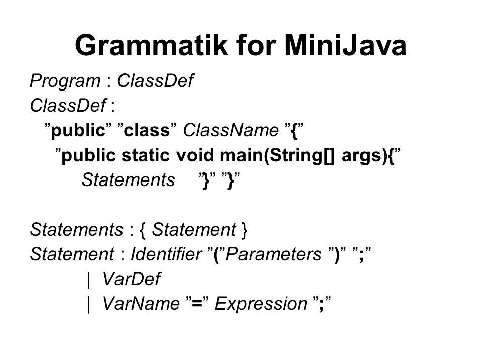 Grammatik for MiniJava