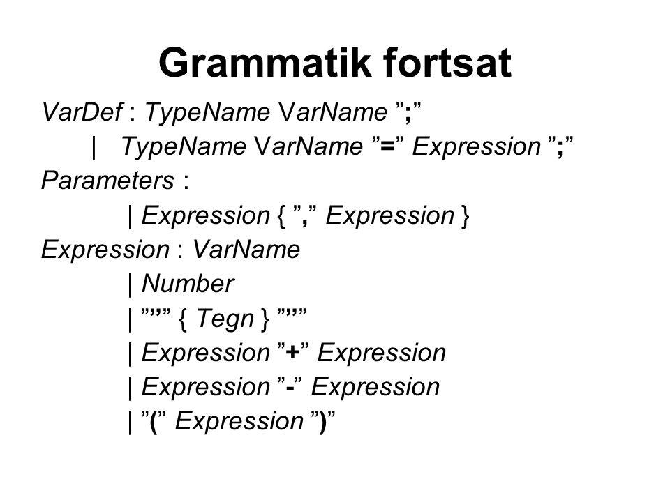 Grammatik fortsat VarDef : TypeName VarName ;