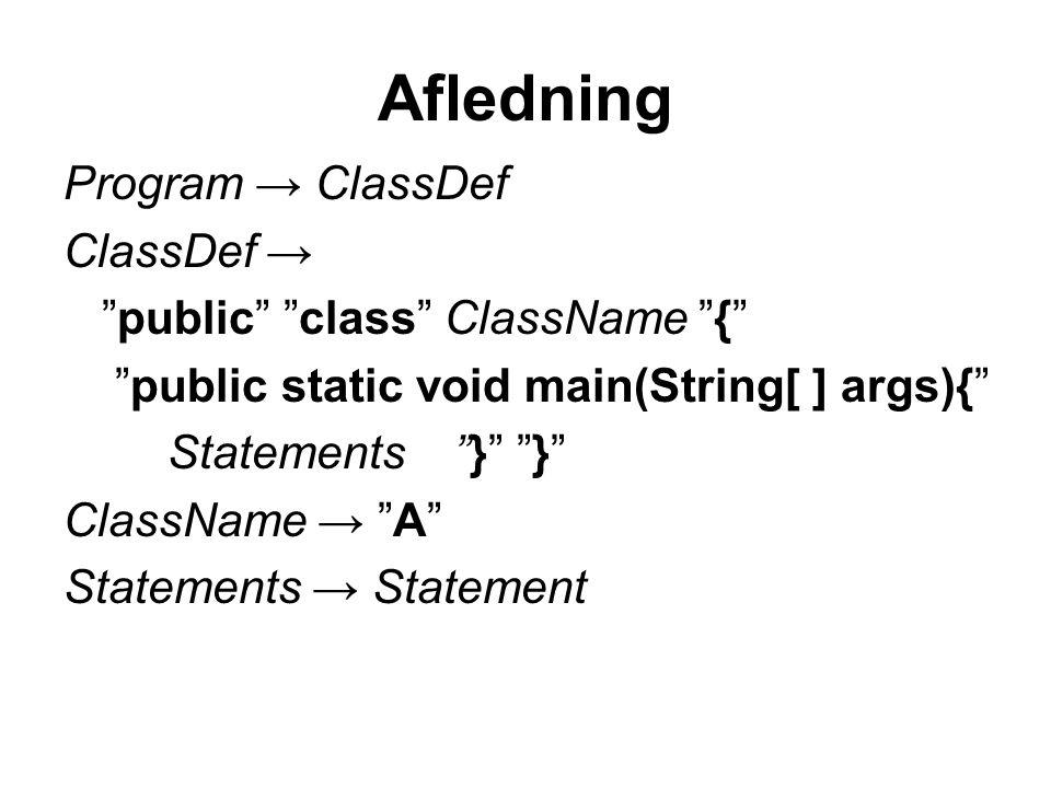 Afledning Program → ClassDef ClassDef → public class ClassName {