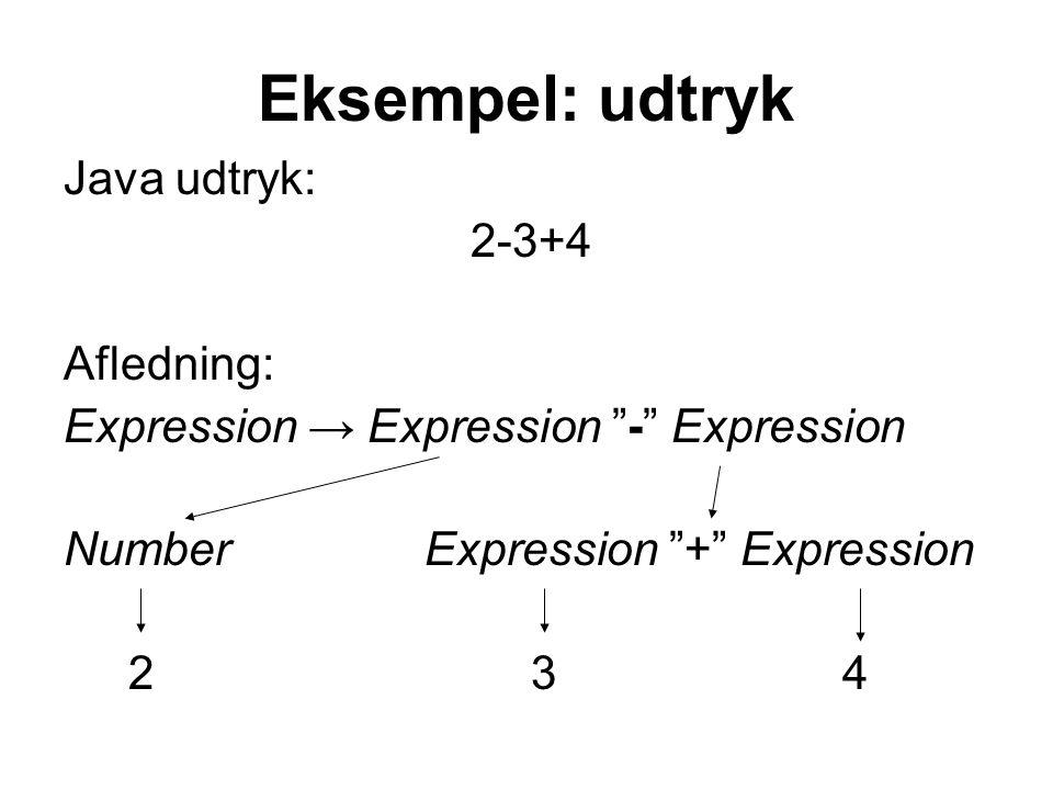 Eksempel: udtryk Java udtryk: 2-3+4 Afledning: