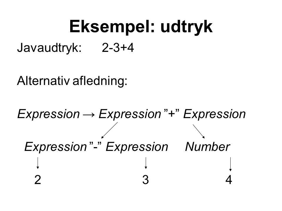Eksempel: udtryk Javaudtryk: 2-3+4 Alternativ afledning: