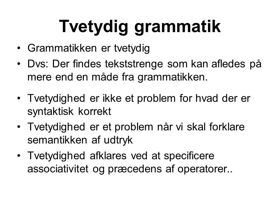 Tvetydig grammatik Grammatikken er tvetydig