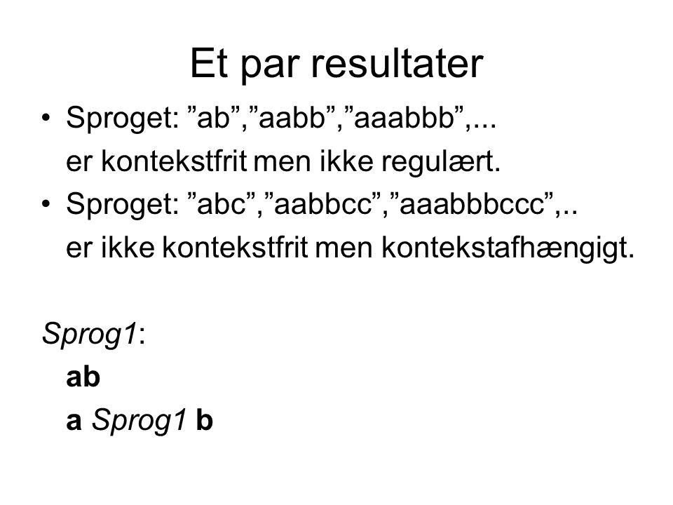 Et par resultater Sproget: ab , aabb , aaabbb ,...