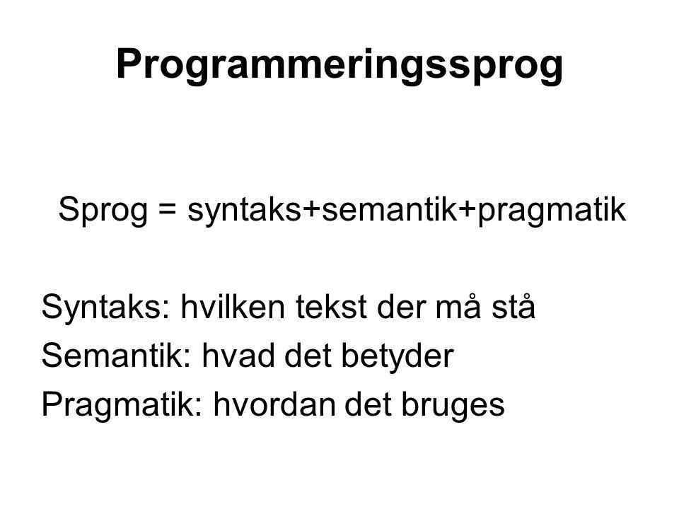 Sprog = syntaks+semantik+pragmatik