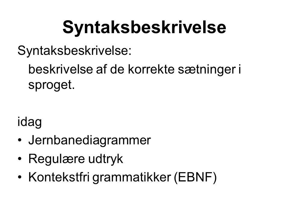 Syntaksbeskrivelse Syntaksbeskrivelse: