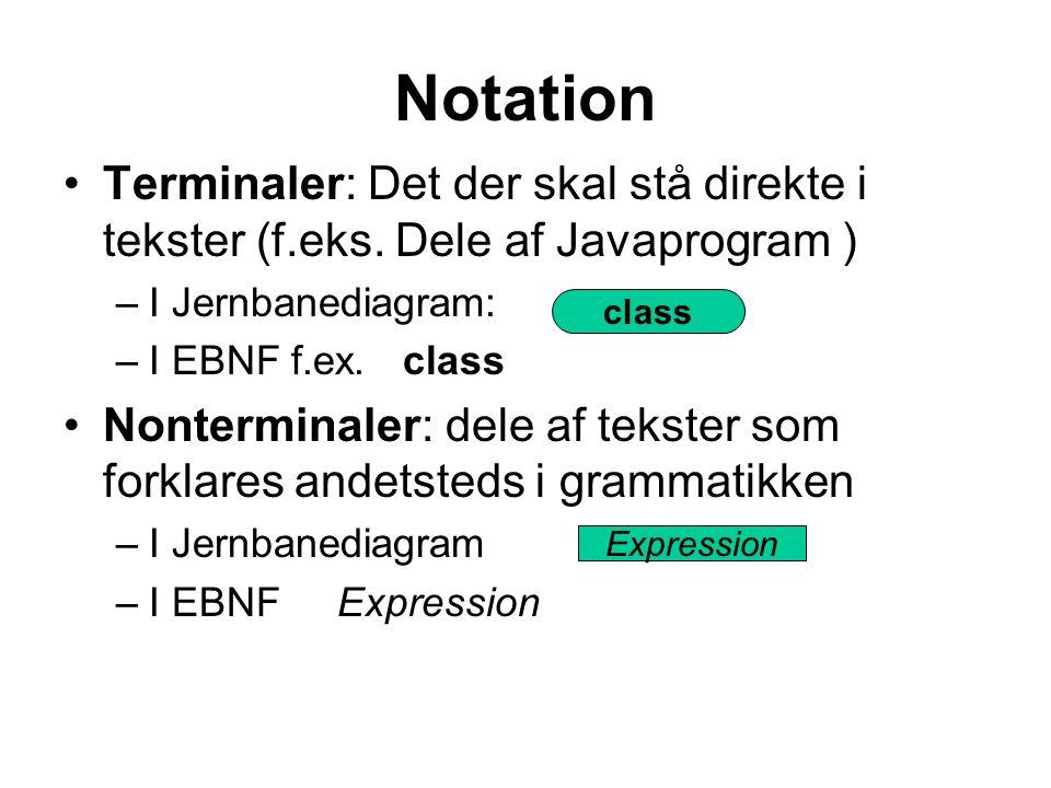 Notation Terminaler: Det der skal stå direkte i tekster (f.eks. Dele af Javaprogram ) I Jernbanediagram: