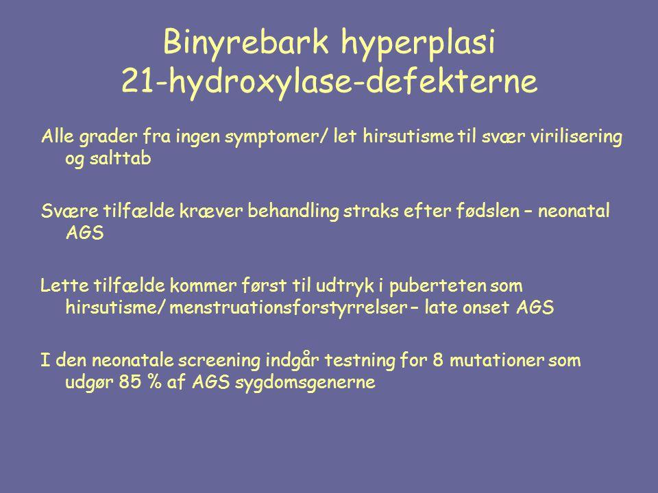 Binyrebark hyperplasi 21-hydroxylase-defekterne