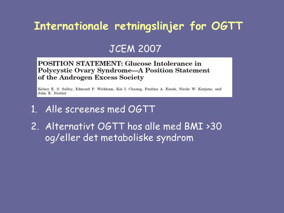Internationale retningslinjer for OGTT
