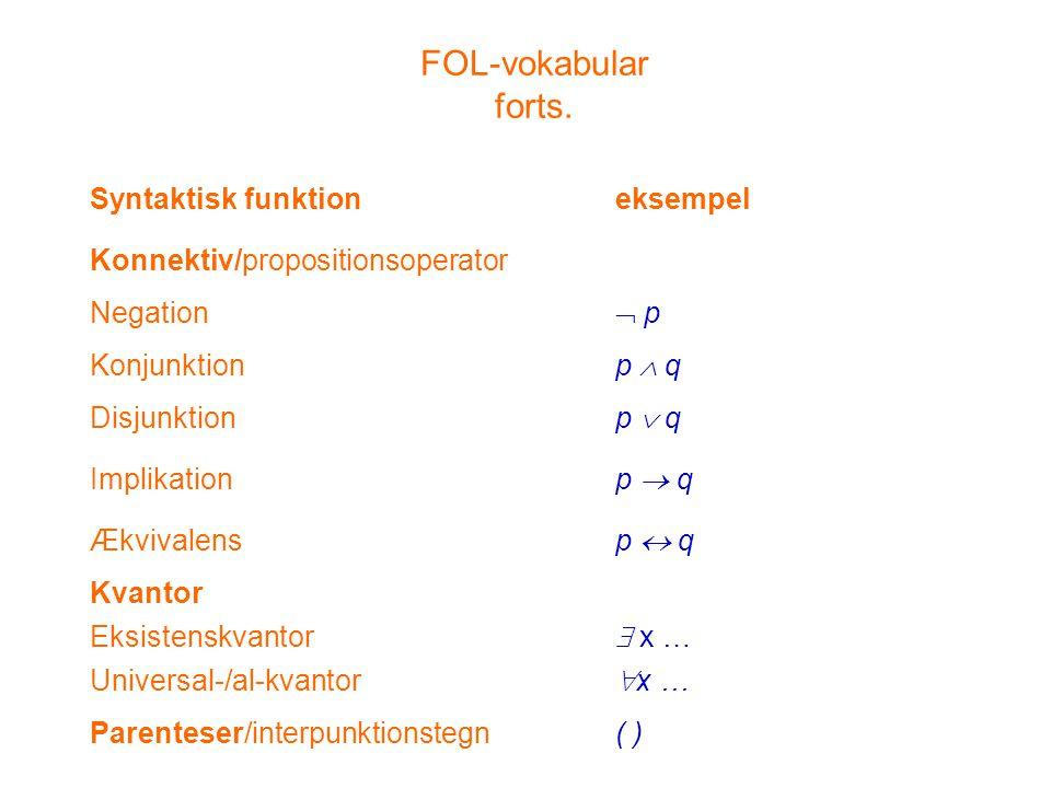 FOL-vokabular forts. Syntaktisk funktion eksempel