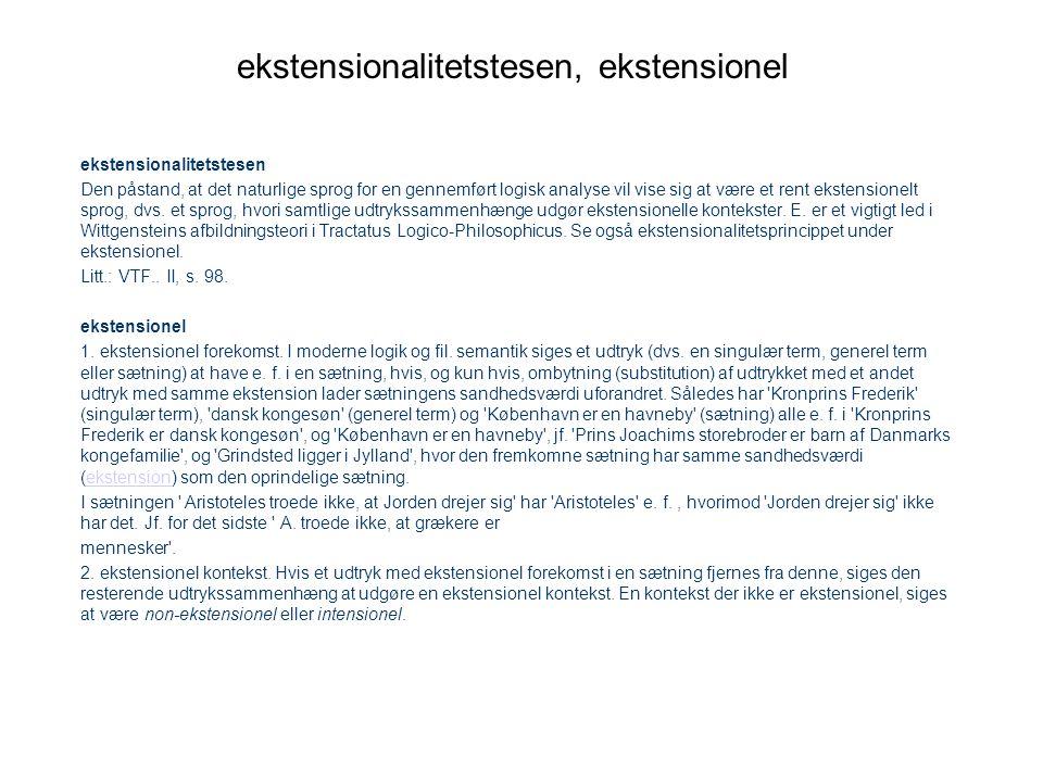 ekstensionalitetstesen, ekstensionel