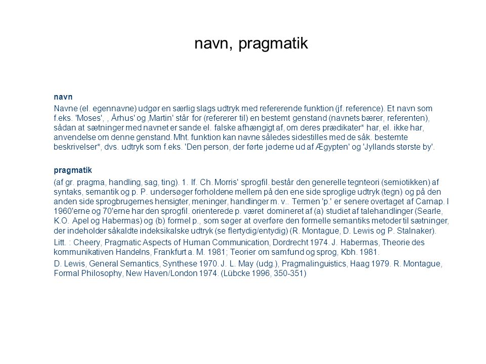navn, pragmatik navn.