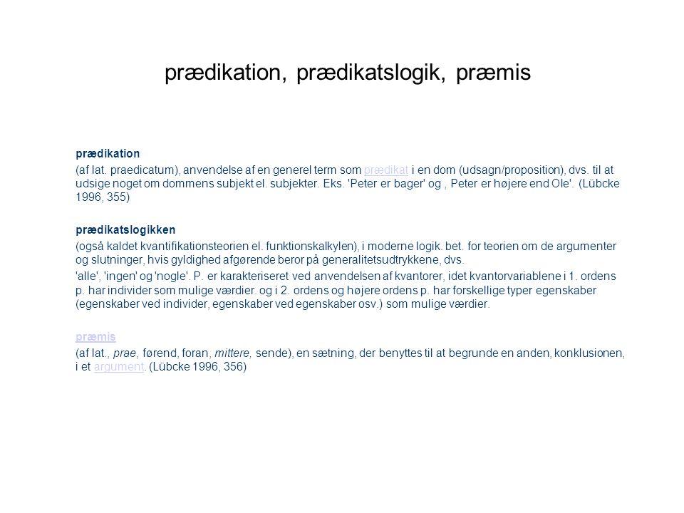 prædikation, prædikatslogik, præmis