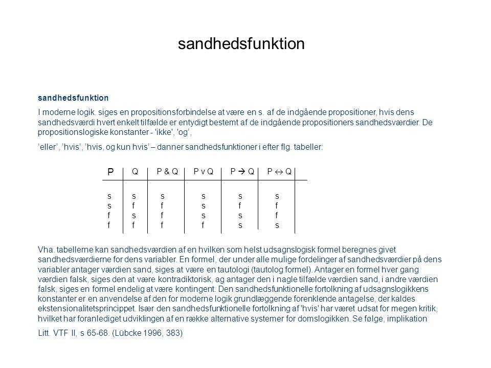 sandhedsfunktion P sandhedsfunktion