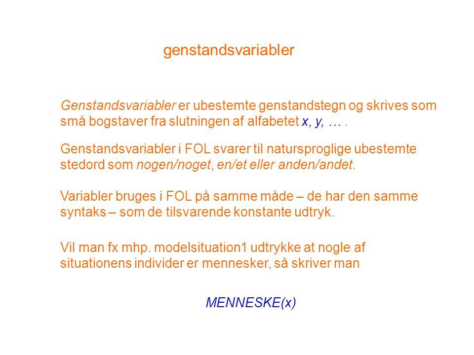 genstandsvariabler Genstandsvariabler er ubestemte genstandstegn og skrives som små bogstaver fra slutningen af alfabetet x, y, … .