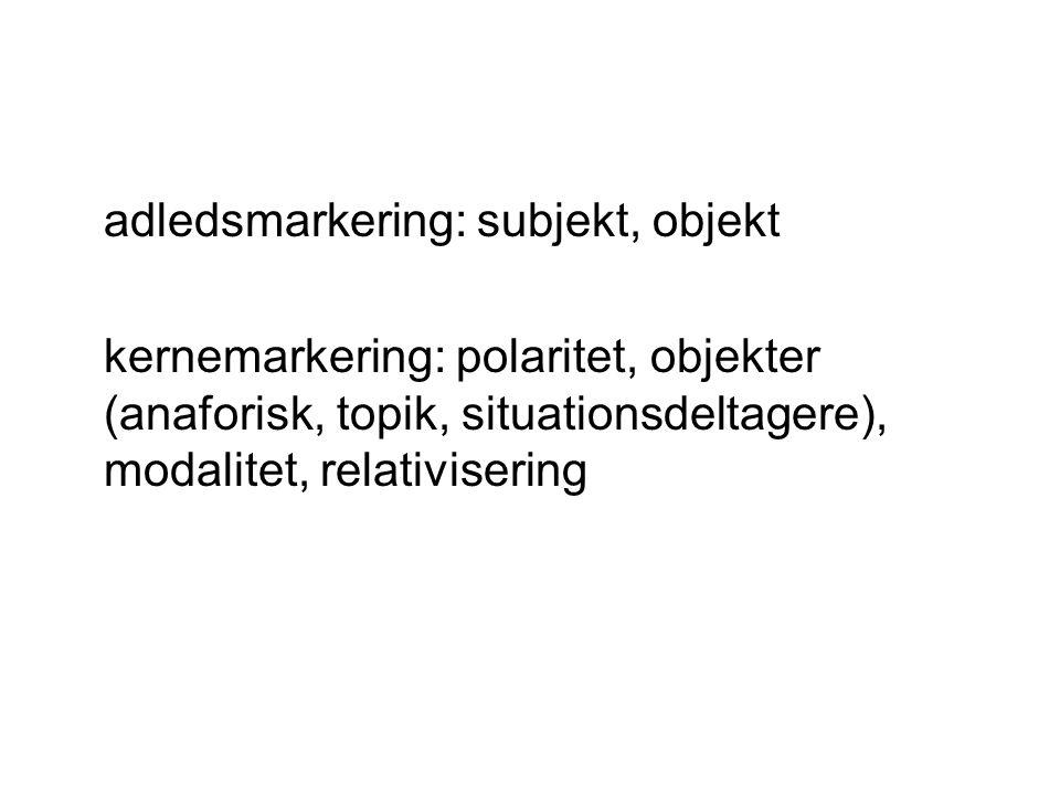 adledsmarkering: subjekt, objekt