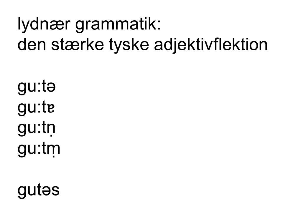lydnær grammatik: den stærke tyske adjektivflektion gu:tə gu:tɐ gu:tṇ gu:tṃ gutəs