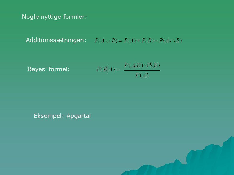 Nogle nyttige formler: