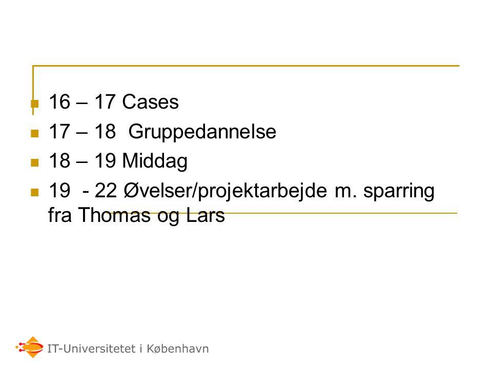 16 – 17 Cases 17 – 18 Gruppedannelse. 18 – 19 Middag.