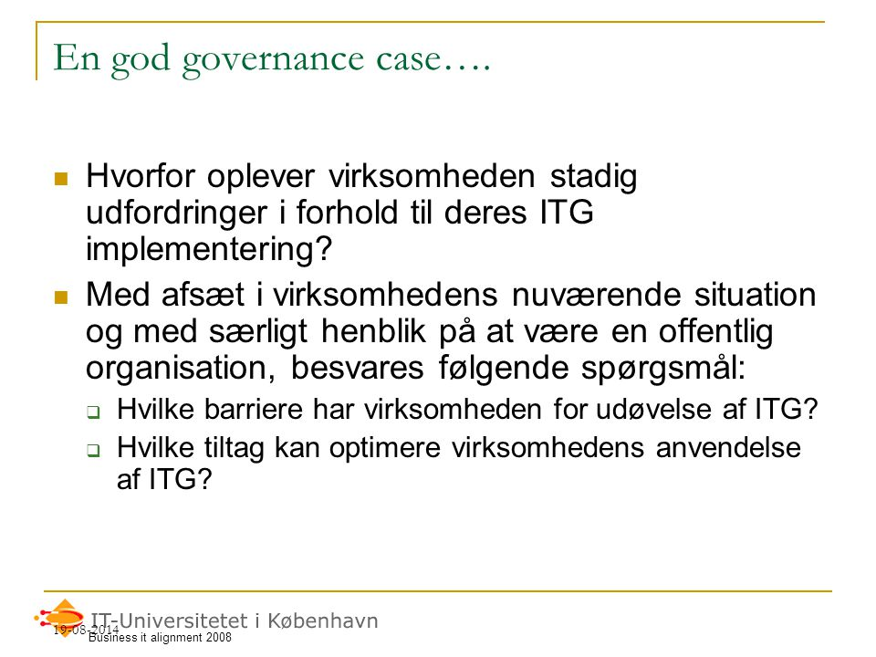 En god governance case….
