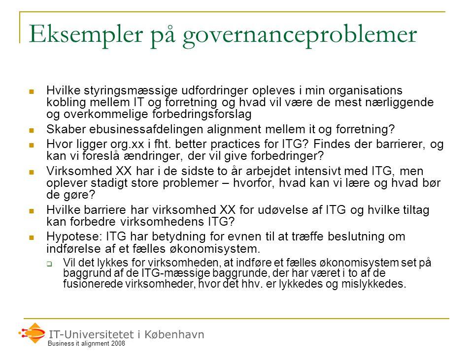 Eksempler på governanceproblemer