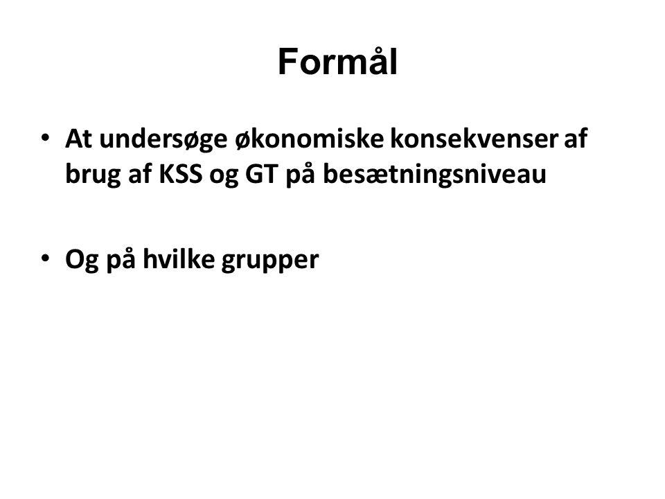 Formål At undersøge økonomiske konsekvenser af brug af KSS og GT på besætningsniveau.