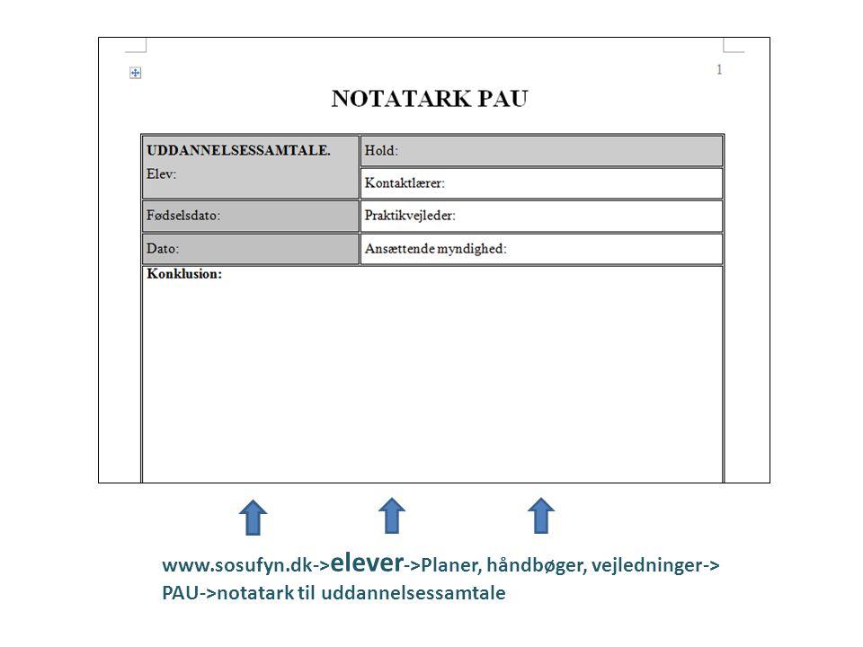 www.sosufyn.dk->elever->Planer, håndbøger, vejledninger->