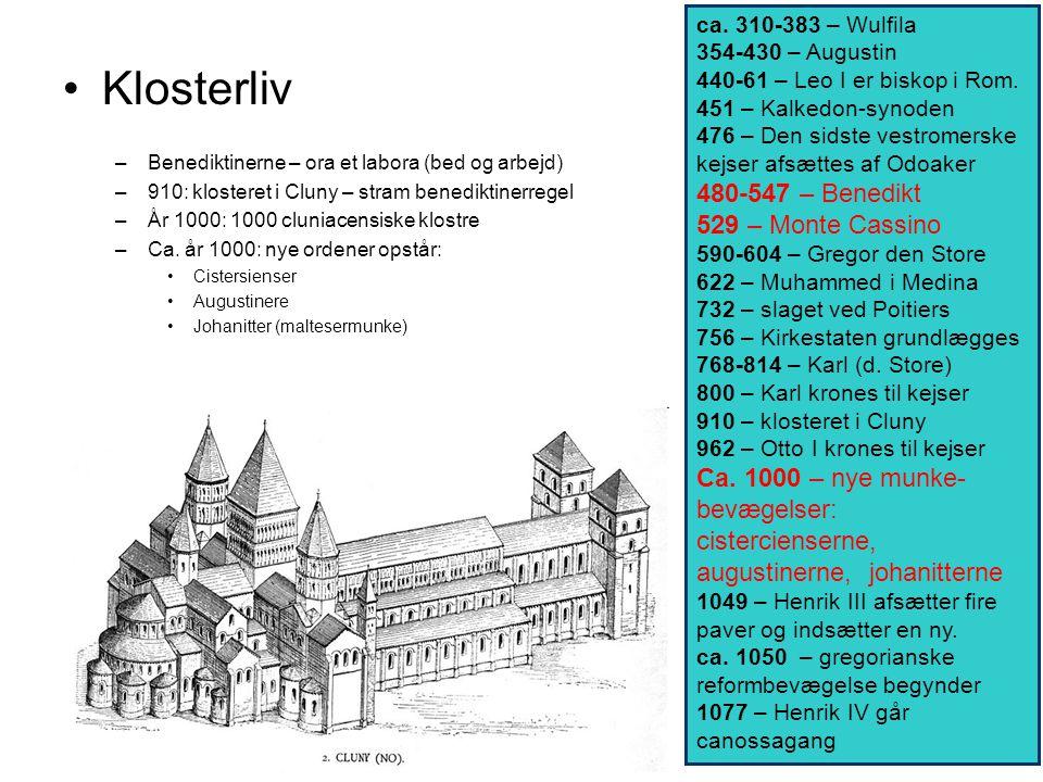 Klosterliv 480-547 – Benedikt 529 – Monte Cassino