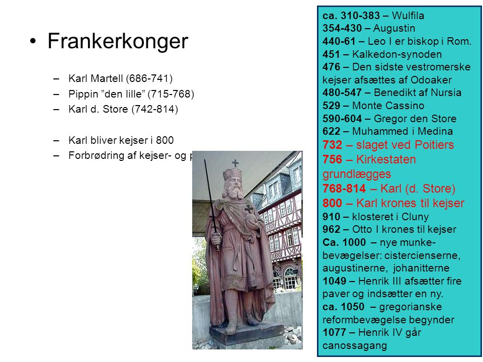Frankerkonger 732 – slaget ved Poitiers 756 – Kirkestaten grundlægges